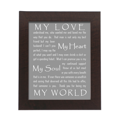 Framed Wedding Vow Photo Print EZ Canvas